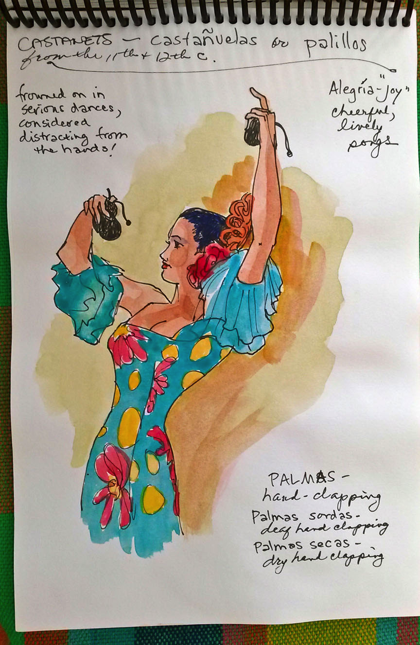 water color of a spanish flamenco dancer