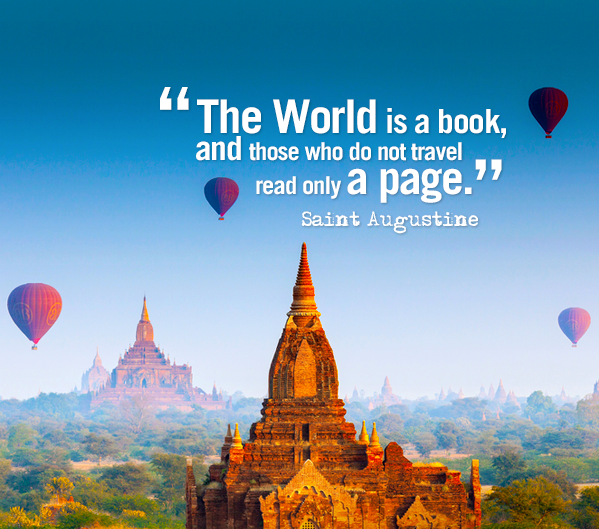 world is a book quote - hot air balloons flying over temples